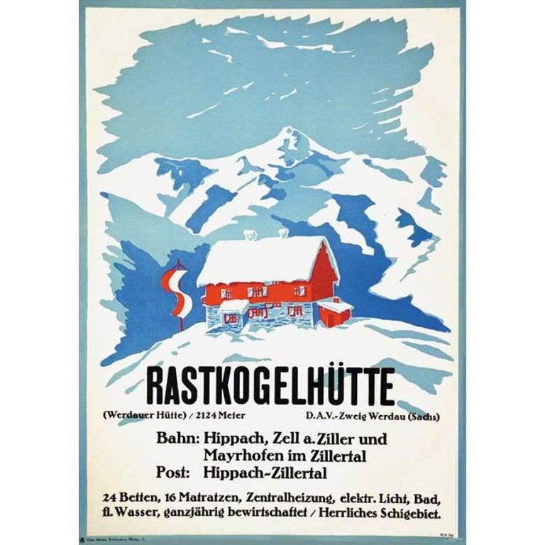 W.H. Tittel Landscape Print - W H Tittel Rastkogelhütte Original Vintage Skiing Climbing Travel Poster Austria