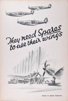 1943 Original Poster: Spitfires WW2 RAF Fighter Owen Miller They need Spares...