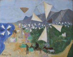 Julian Trevelyan Cretan Windmills Oil on Canvas Modern British Art - Crete