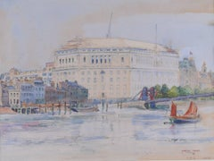 Walter Taylor Thames House, Lambeth Bridge, London watercolour 1928
