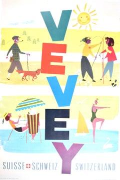 Vevey Switzerland in Summer original poster by Josep Artigas Ojeda