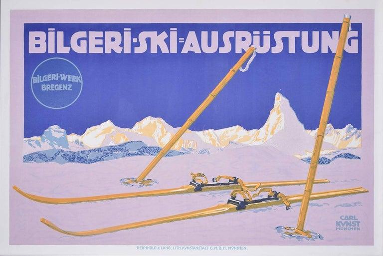 Original Vintage Poster Bilgeri Ski Carl Kunst c. 1910 Skiing Matterhorn Bregenz - Print by Carl Kunst