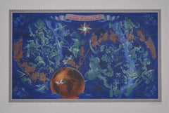 Original Vintage Poster Constellation Map for Air France c. 1950