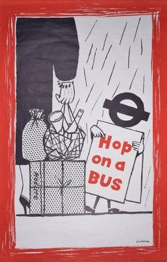 Original Vintage Poster Hop on a Bus - London Transport 1958 - Underground TFL