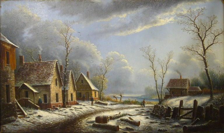 Village paysage enneigé en hiver - (Village Landscape in Winter) - Painting by Albert Alexandre Lenoir