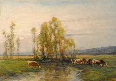 Huit vaches au pâturage par un ruisseau- (Eight cows on pasture by a stream)