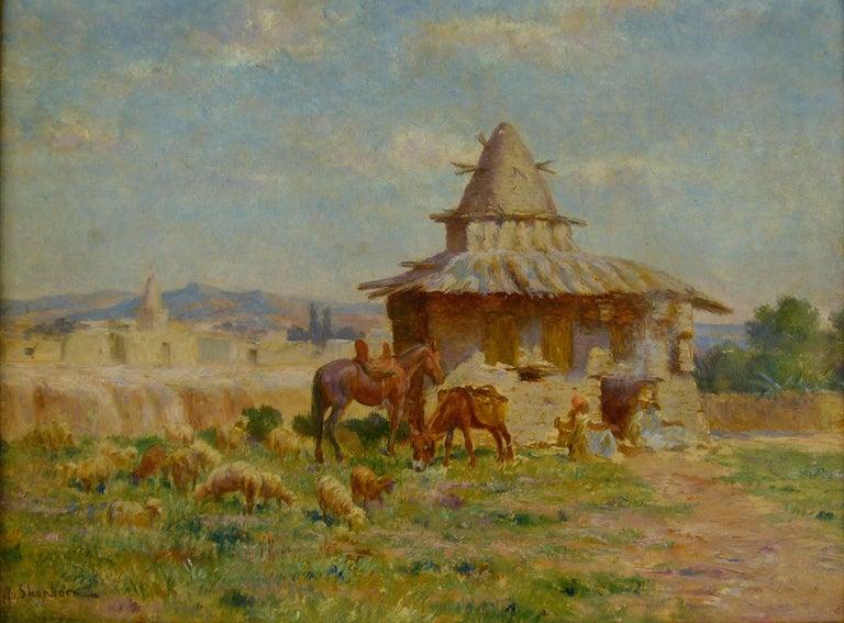 """John Lewis Shonborn Landscape Painting - Cabane de l'ermite algérien de M'Sila"""" (Hut of Algerian Hermit of M'Sila)"""