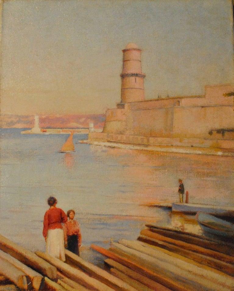 Paul Leroy Landscape Painting - Ensoleillé matin au Phare de Marseille -  (Sunny Morning at the Lighthouse)