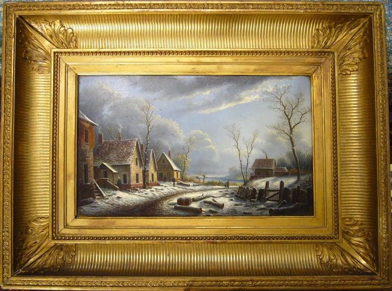 Albert Alexandre Lenoir Landscape Painting - Village paysage enneigé en hiver - (Village Landscape in Winter)