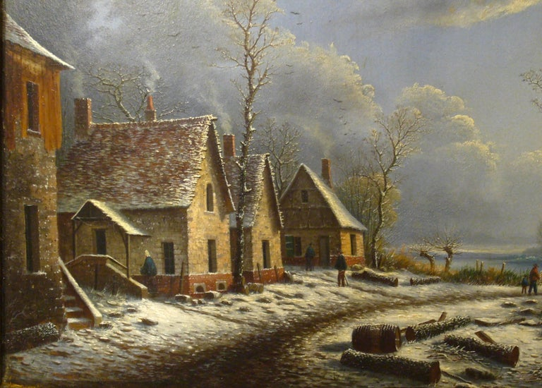Village paysage enneigé en hiver - (Village Landscape in Winter) - Old Masters Painting by Albert Alexandre Lenoir
