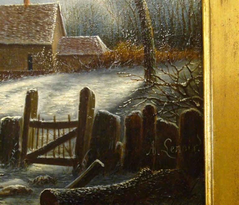 Village paysage enneigé en hiver - (Village Landscape in Winter) - Brown Landscape Painting by Albert Alexandre Lenoir