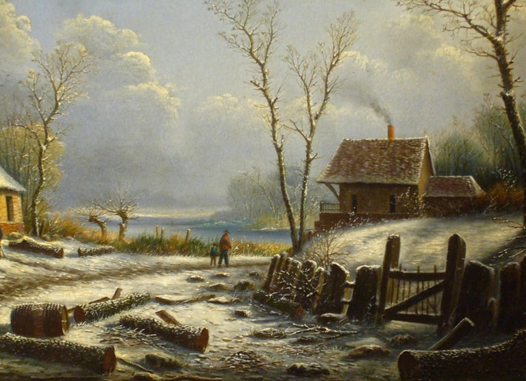 Village paysage enneigé en hiver - (Village Landscape in Winter) For Sale 1