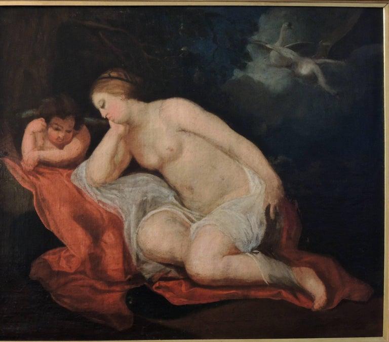 """Lida et Cupidon en attentele cigneZeus""(""Lida and Cupid awaitingthe SwanZeus""), circa 1760.  French Old Master Oil Painting onOriginalCanvas, circa 1760. Suiveur de Peter Paul Rubens. (Follower of Peter Paul"