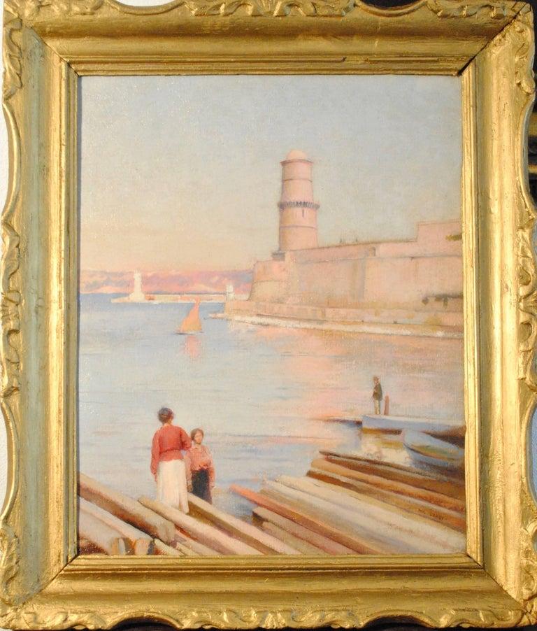 Ensoleillé matin au Phare de Marseille -  (Sunny Morning at the Lighthouse) - Painting by Paul Leroy