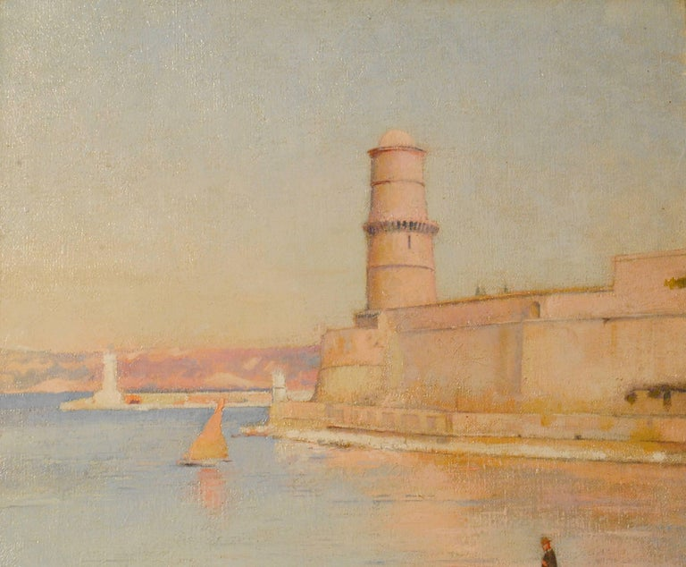 Ensoleillé matin au Phare de Marseille -  (Sunny Morning at the Lighthouse) - Impressionist Painting by Paul Leroy