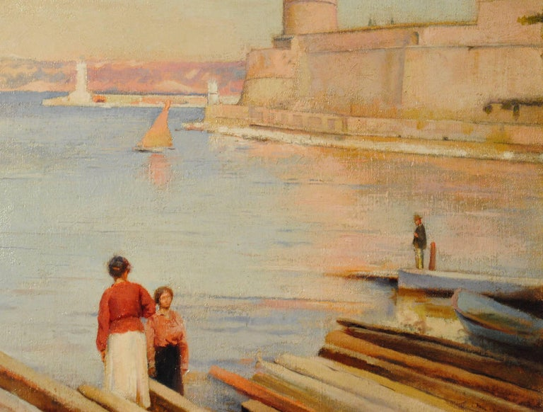 Ensoleillé matin au Phare de Marseille -  (Sunny Morning at the Lighthouse) - Brown Landscape Painting by Paul Leroy