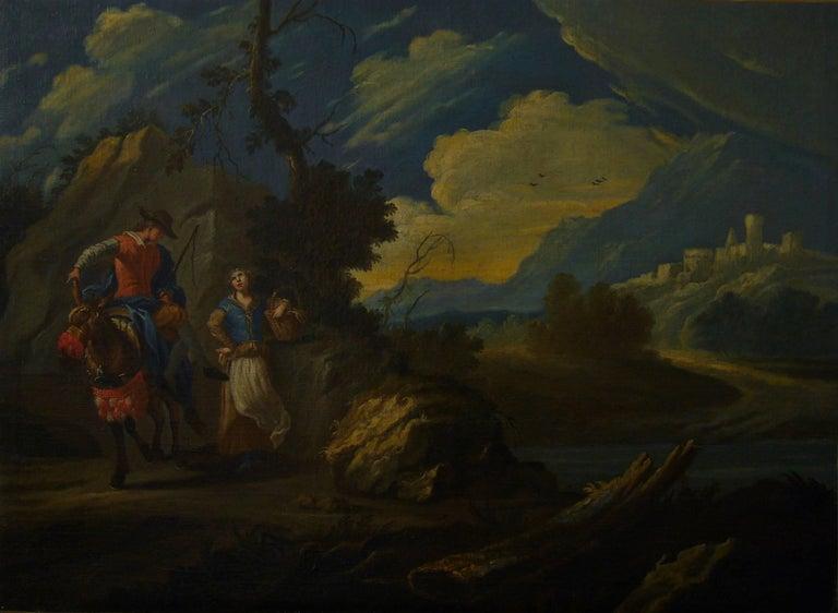 Claude Joseph Vernet and studio Figurative Painting - Couple sur une colline rocheuse au-dessous d'une rivière -Couple on a Rocky Hill