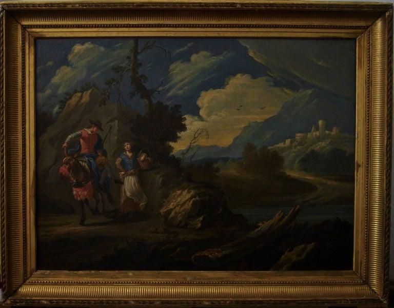 Couple sur une colline rocheuse au-dessous d'une rivière -Couple on a Rocky Hill - Painting by Claude Joseph Vernet and studio