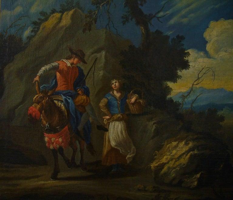 Couple sur une colline rocheuse au-dessous d'une rivière -Couple on a Rocky Hill - Old Masters Painting by Claude Joseph Vernet and studio