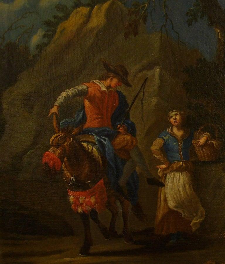 Couple sur une colline rocheuse au-dessous d'une rivière -Couple on a Rocky Hill - Black Figurative Painting by Claude Joseph Vernet and studio