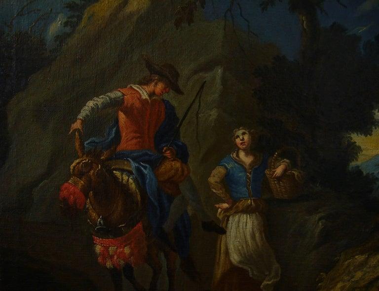 """""""Couple sur une colline rocheuse au-dessous d'une rivière"""" (""""Couple on a Rocky Hillside above a River"""")  1740 Antique French Old Master Oil Painting on Canvas, c. 1740 Suiveur deClaude-Joseph Vernet  Claude-Joseph Vernet"""