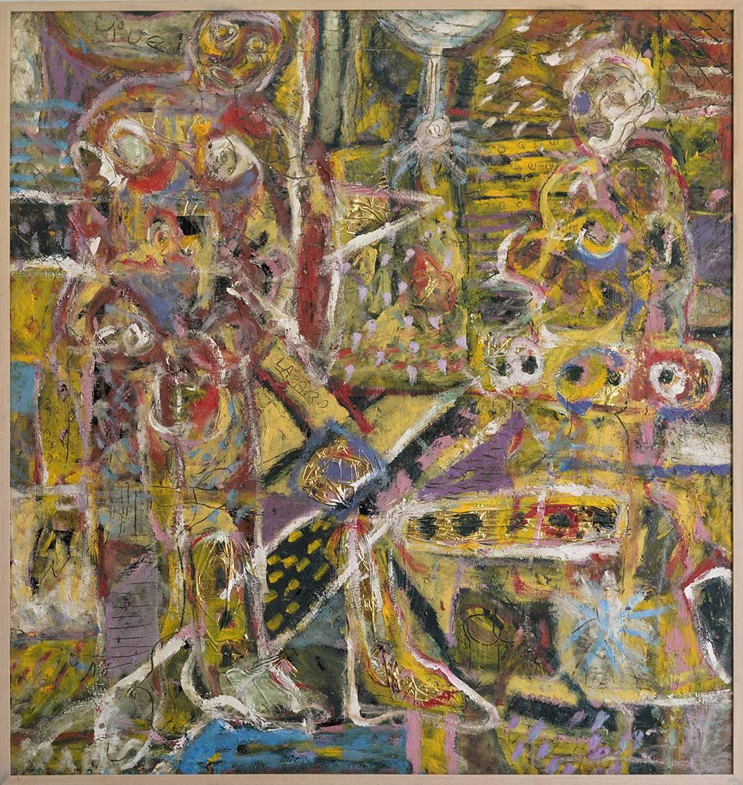 """""""Tiferet""""  Abstract Expressionist Mexican Painting Mixed Media Oil on Linoleum"""