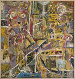 """Tiferet""  Abstract Expressionist Mexican Painting Mixed Media Oil on Linoleum"