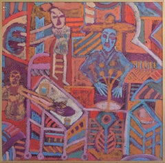 Beings of Light Abstract Expressionist Mexican Folkloric Dinner Oil on Linoleum