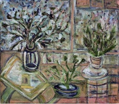 """Atelier"" Flowers Mixed Media Still Life Painting Oil on Linen Contemporary Art"