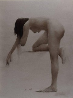 Nude, Bending Knee Duo-chrome Oil Painting