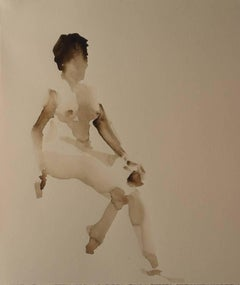 Gary Korlin - Sepia Nude I, Watercolor Painting