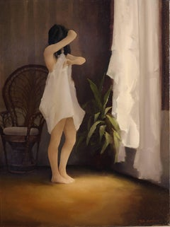 Light at Her Feet - Figurative Interior Oil Painting
