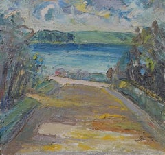 Path to Water, Mid-century Impasto Oil Landscape Painting