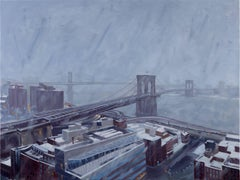 Grey Day, Snow Showers, Oil Painting on Canvas
