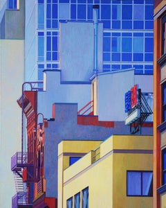 Red Stairway, Oil Painting on Canvas