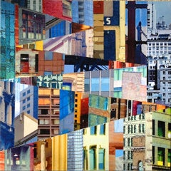 Patchwork City 11, Mixed Media on Wood