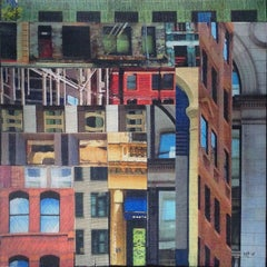 Patchwork City 13, Mixed Media on Wood
