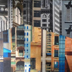 Patchwork City 15, Mixed Media on Wood