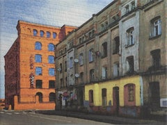 Lodz Windows 1431, Mixed Media on Canvas