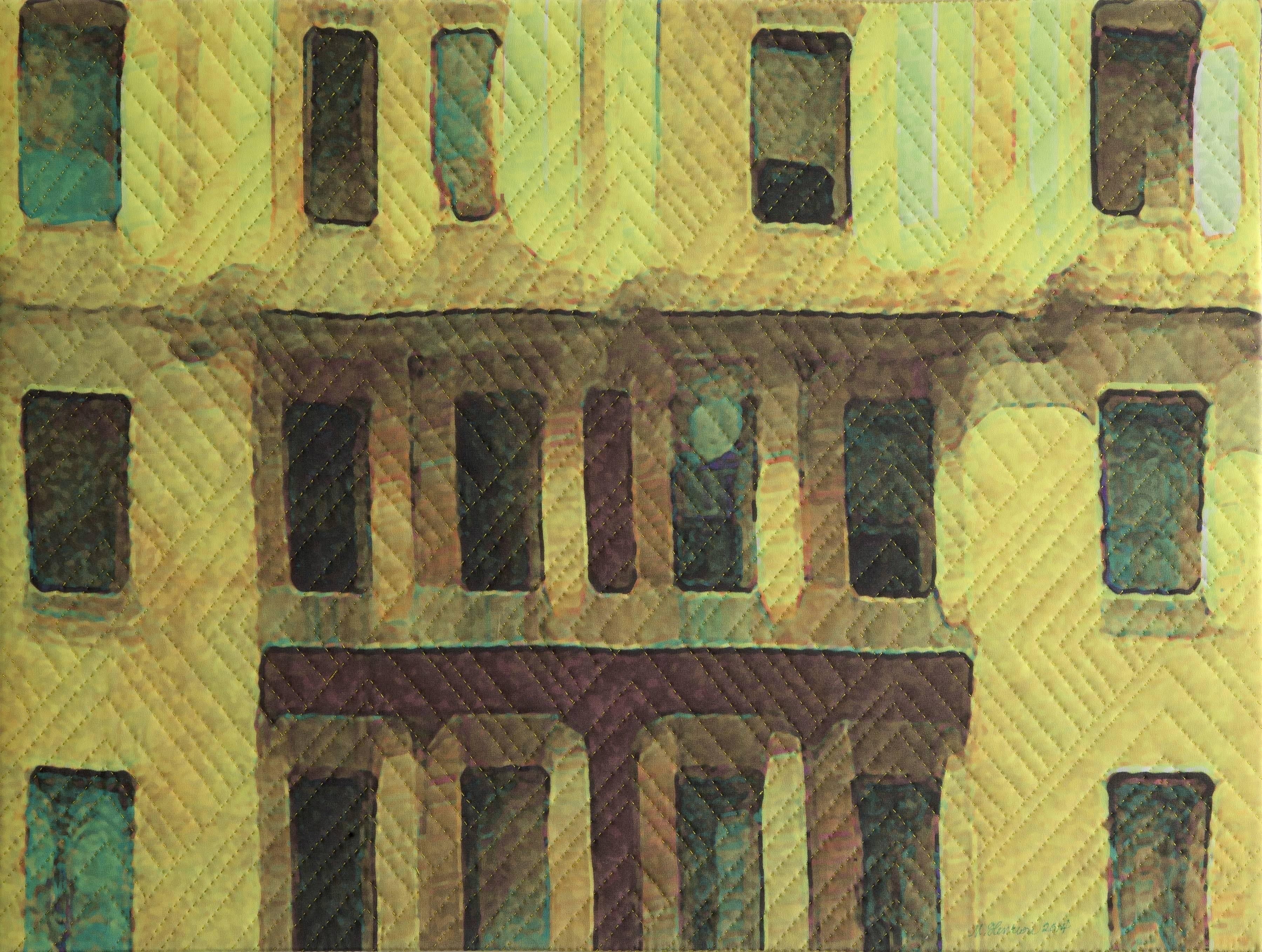New York Windows 1432, Mixed Media on Canvas
