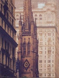 New York Windows 1449, Mixed Media on Canvas