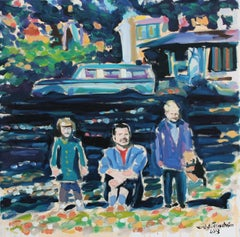 In a Boston park with my father and sister 1960s, Oil Painting on Canvas