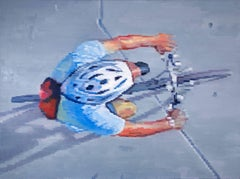 Cyclist Wearing Helmet Riding in Santa Monica, Oil Painting on Canvas