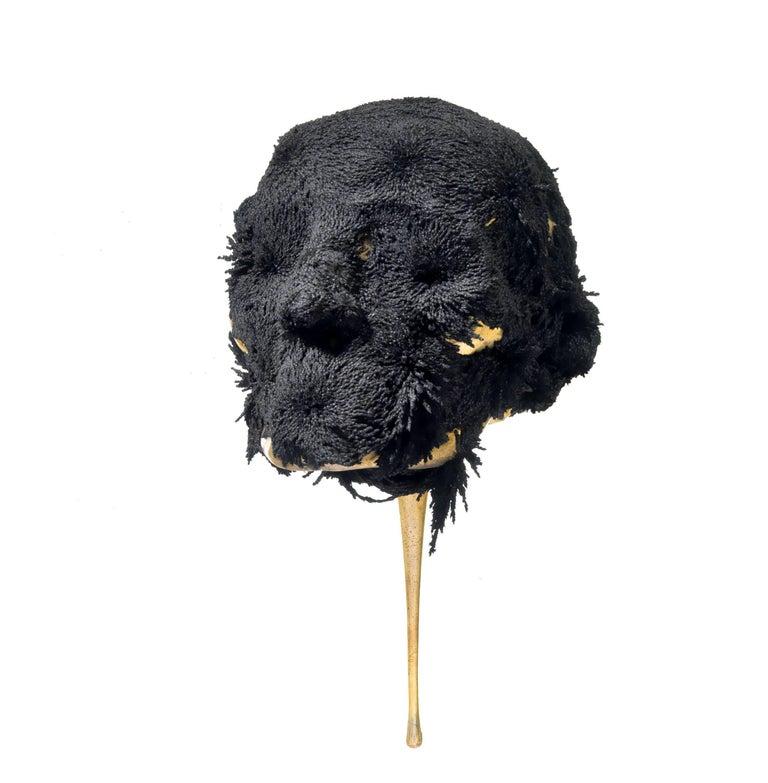 Jericho mask - skull bronze sculpture - Gold Figurative Sculpture by Romain Langlois