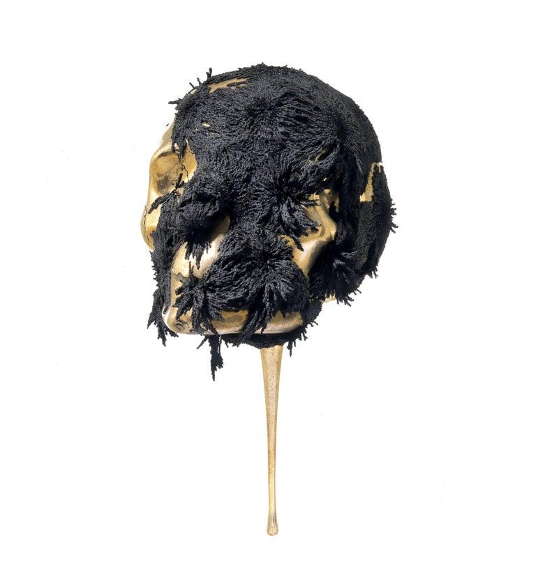 Jericho mask - skull bronze sculpture - Contemporary Sculpture by Romain Langlois