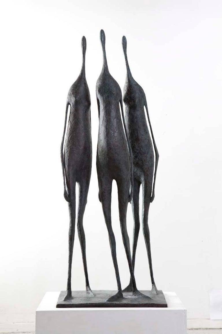 Pierre Yermia Figurative Sculpture - 3 Large Standing Figures I - Bronze Group of Three Figures