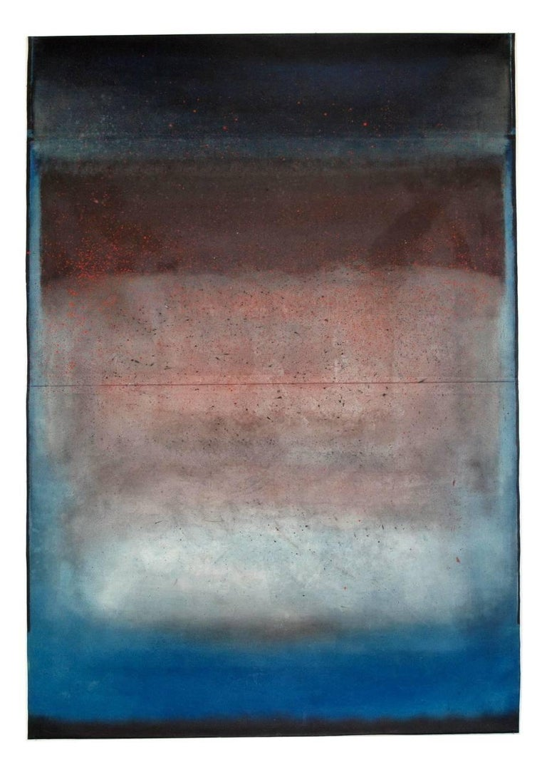 """Untitled XLVII is an abstract painting by French contemporary artist Ferle. Oil on free-standing canvas.  W 140 cm x H 200 cm // W 55 in. x H 78 3/4 in. """"In her work, Ferle creates new space, paints openness and doors to infinity towards a sort of"""