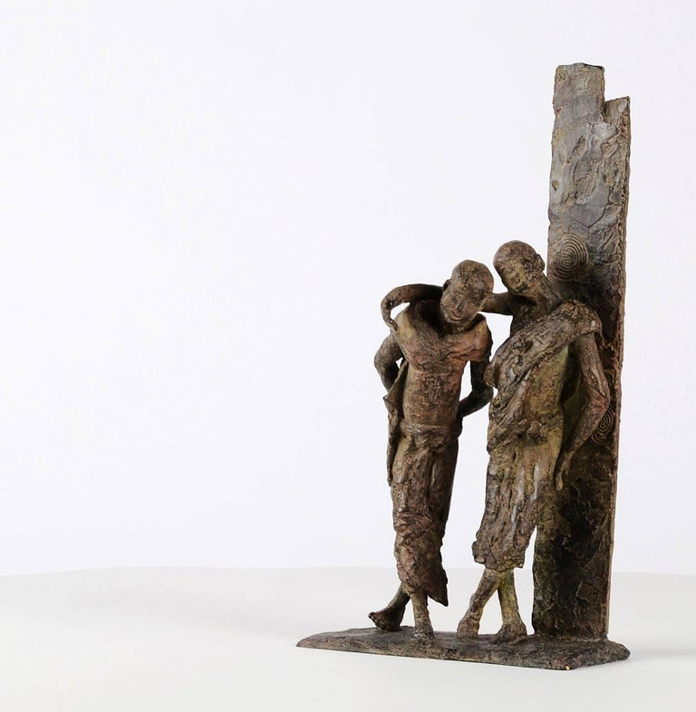 Marine de Soos Figurative Sculpture - The Banks of the Irrawaddy River, Two Friends Bronze Sculpture