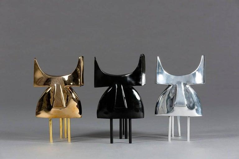 Pablo, Animal Bronze Sculpture (Bull) - Gold Figurative Sculpture by Marie Louise Sorbac