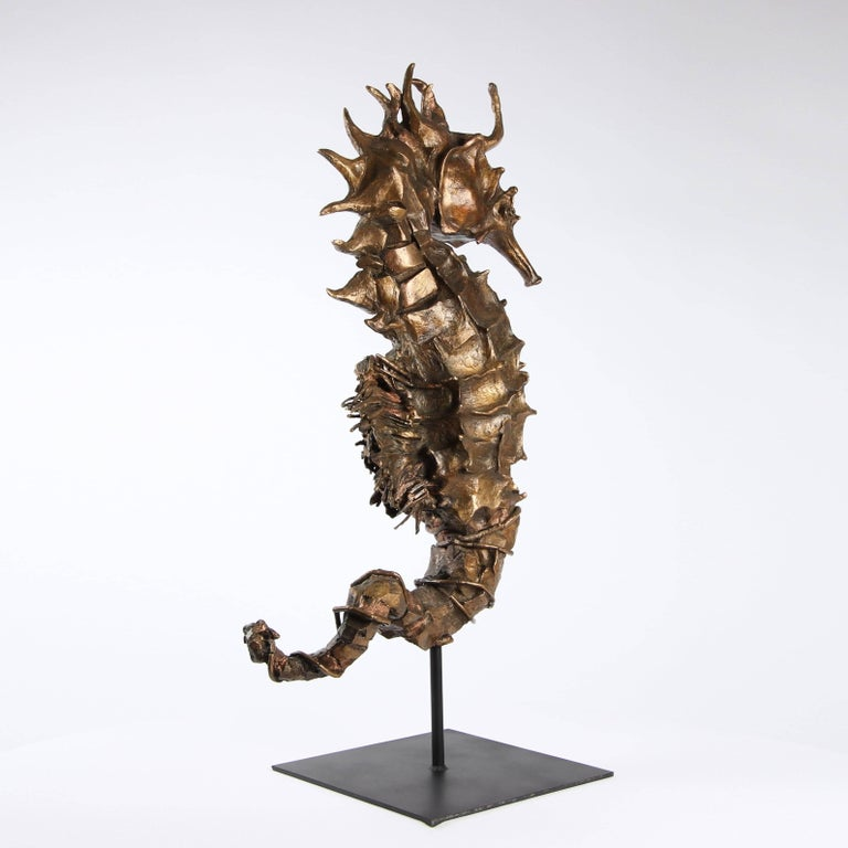 Seahorse Rex Gold is a 1-meter high bronze sculpture by French contemporary artist Chésade. This one-off sculpture is representative of the sculptor's interest in the marine world.  Chésade regards the sea as